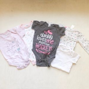 Set of 5 onesies - sizes 3-9 months